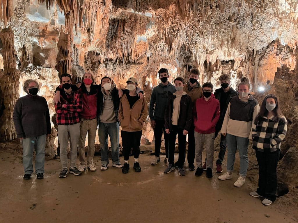 """the Endless Caverns group, part of the """"Fly a Plane and Hike a Cave"""" E-term group, led by Mary Cranston."""