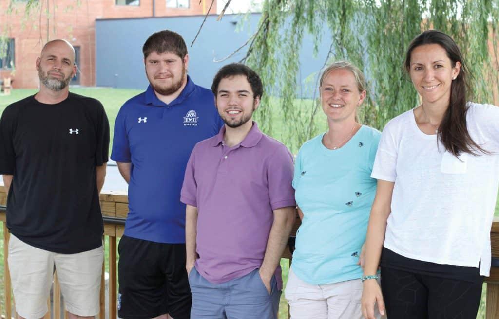 Pictured (l-r) on the campus bridge: Benjamin Bixler, Matthew Overacker, Lucas Wenger, Karen Suderman, Eliz Ozcan