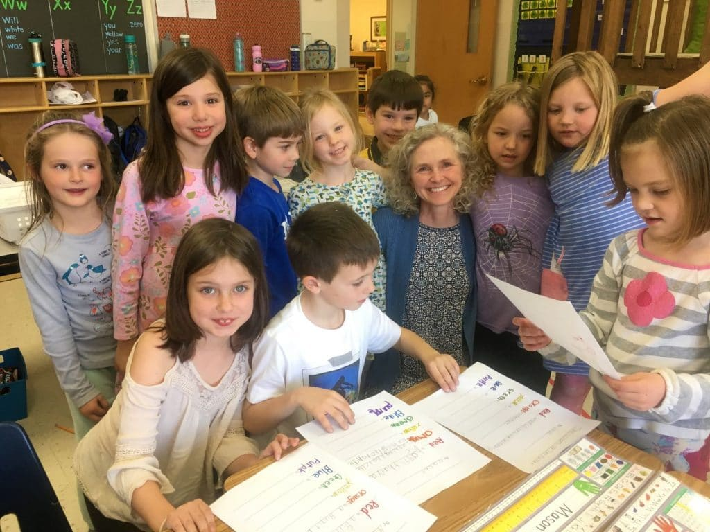 Ardith Kauffman with second grade