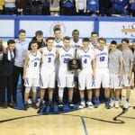 boys basketball team with plaque 2019