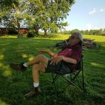 Barry Darr, relaxing after a long day of driving