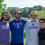 Stephen Lowe '16, Zach Bauman '19, Kendal Bauman (teacher and Discovery chaperone), Olivia Smucker '16 at Goshen College's Merry Lea Environmental Learning Center