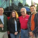 Driver Barry Darr (red shirt) on Discovery 2011 with parent chaperones Larry Sauder and Shari Sutttles and Paul Leaman, head of school (far right).