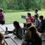 Jessica Peace '07, speaks with the group in Corvallis, Ore.