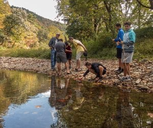 Environmental science students exploring the North Fork. Photo by Steven Johnson.