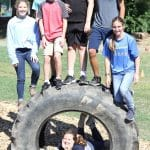 Eighth grade science students on EMES playground