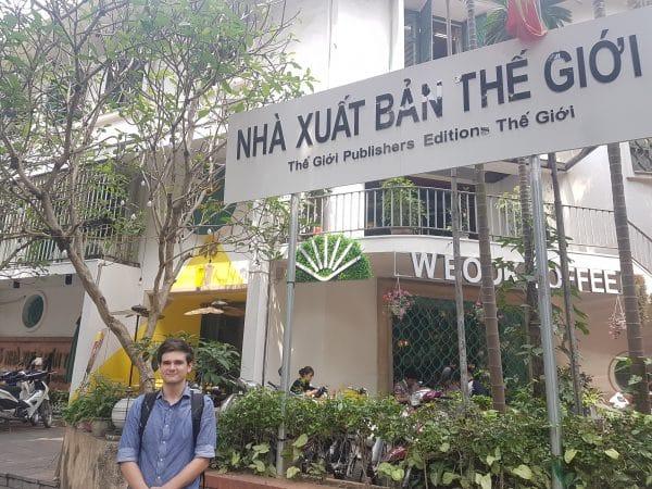 Caleb Schrock-Hurst at Nhà Xuất Bàn Thế Giới Publishing House in Hanoi, Vietnam.