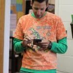Athletic Director Andrew Gascho, checking some stats on tie dye day