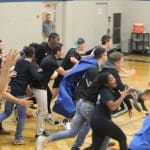 Storming the court after the VISAA quarterfinal match