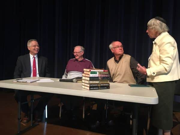 Chapel panel featuring, left to right, Elwood Yoder (moderator), James Rush, Leo Heatwole, Lois Bowman Kreider