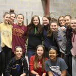 The girls varisty basketball team got down and dirty, cleaning up the warehouse
