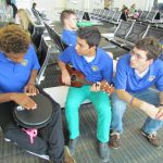 Luis Martinez (center) with Yona Daniel and Tyler Eshleman on the 2012 Touring Choir Europe trip. Courtesy photo.
