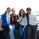 Left to right, Franka Hessel, Katie Martin, Madeline Hosteler and Luis Martinez,  at Niagra Falls during the 2012 Touring Choir E-term
