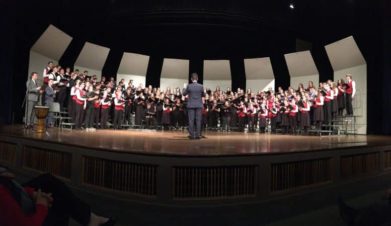 VOCES8 joins the Shenandoah Valley Children's Choir and EMS' Touring and Junior Choirs on stage, February 16, 2020