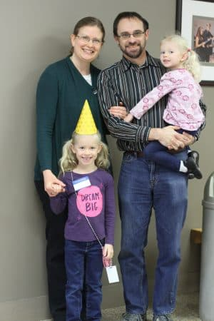Rebecca Tyson shared stories from her own life as part of her chapel series. On Friday, husband, Ben, and daughters Abby and Aimee joined her and the students sang to help Abby celebrate turning six.