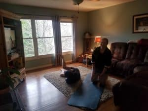 Learning Support Services teacher, Rebecca Yutzy, shared this image of PE/yoga class at her house