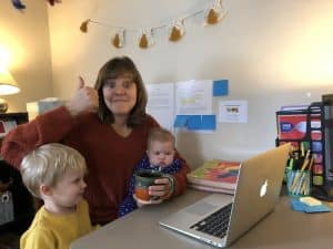 Hannah Bailey, first grade teacher, has a crowded home office!