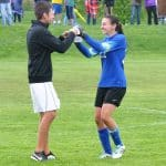 Andrew Gascho, girls varsity soccer coach, and Leah Wenger '16, goalie, following the Blue Ridge Conference title win, 2016.