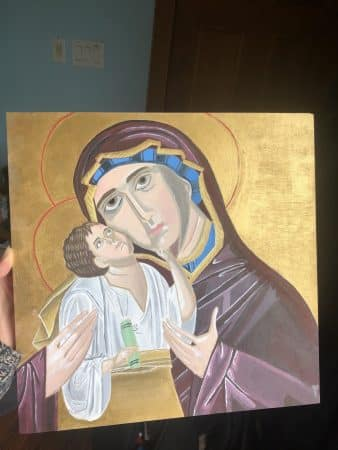 Fiona Mitchell '22 painted this replica of an Eastern Orthodox icon for a spring 2020 Honors Global Christianity class