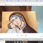 Fiona Mitchell on Zoom with her Eastern Orthodox icon
