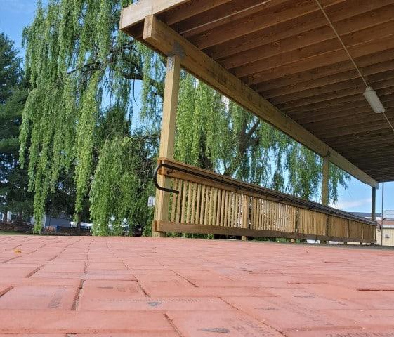 brick pavers on bridge