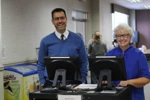 Paul Leaman and Deb Pardini, dining hall manager