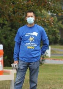 Paul Leaman, head of school at the solar barn raising