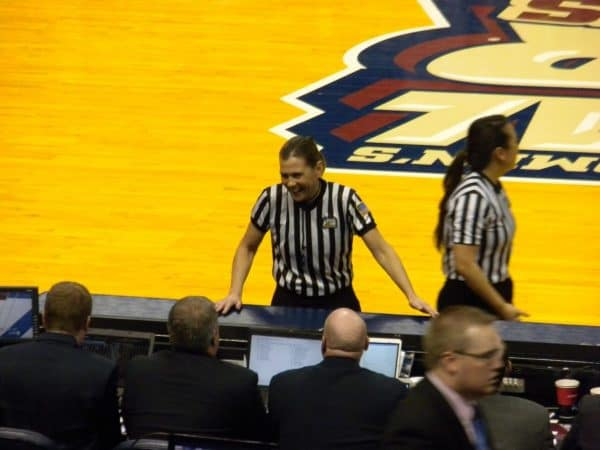 Sue Blauch '82 worked the Final Four in 2011 for the women's Division I NCAA tournament. Courtesy photo