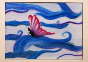 Anna Stempel, 12, Tranquility, oil pastel and watercolor,