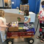 Library on the go in a wagon...