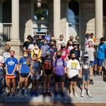 Seventh grade on the steps in Court Square, Harrisonburg
